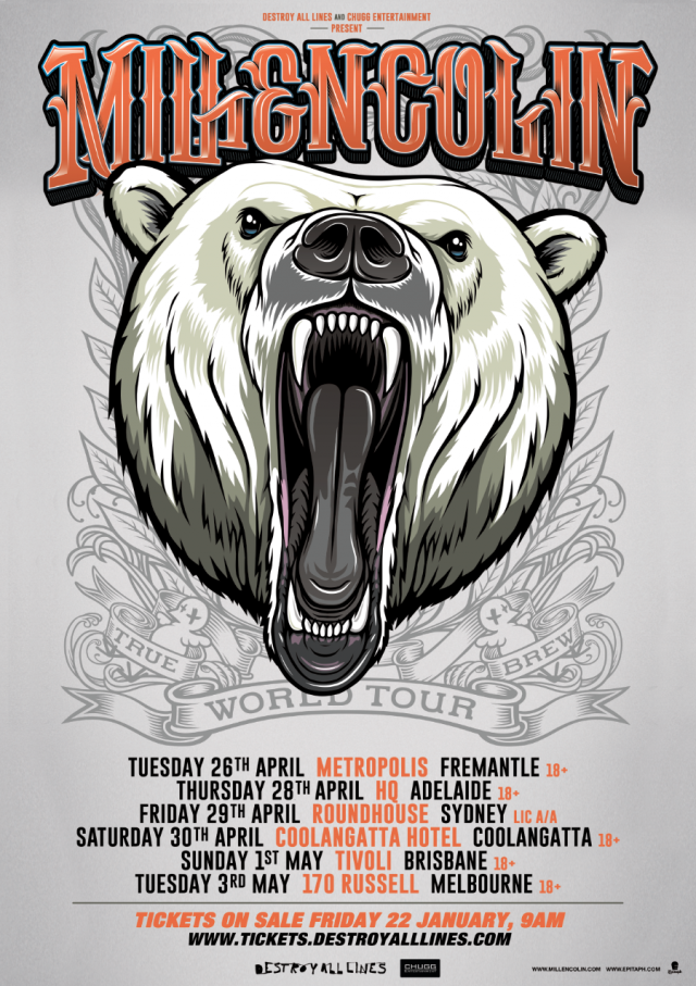millencolin 2016 australian tour poster supplied