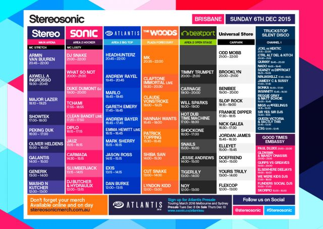 stereosonic 2015 set times brisbane