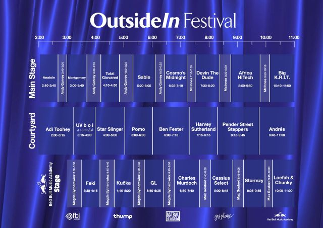 OutsideIn 2015 set times supplied