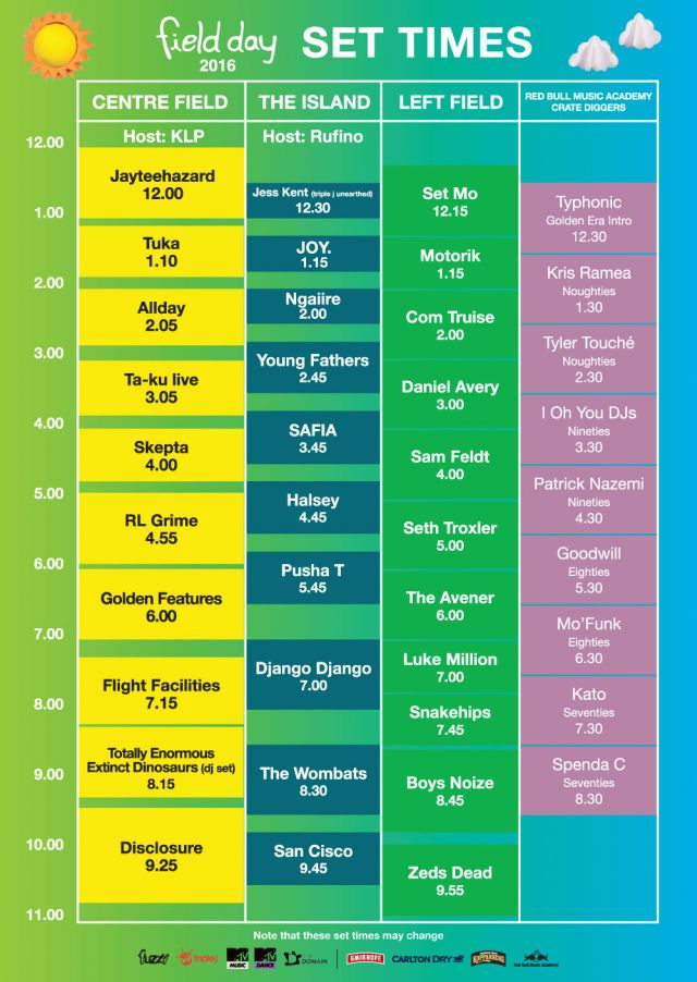 field day 2016 set times