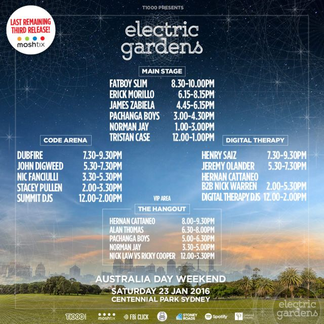 electric gardens 2016 set times supplied