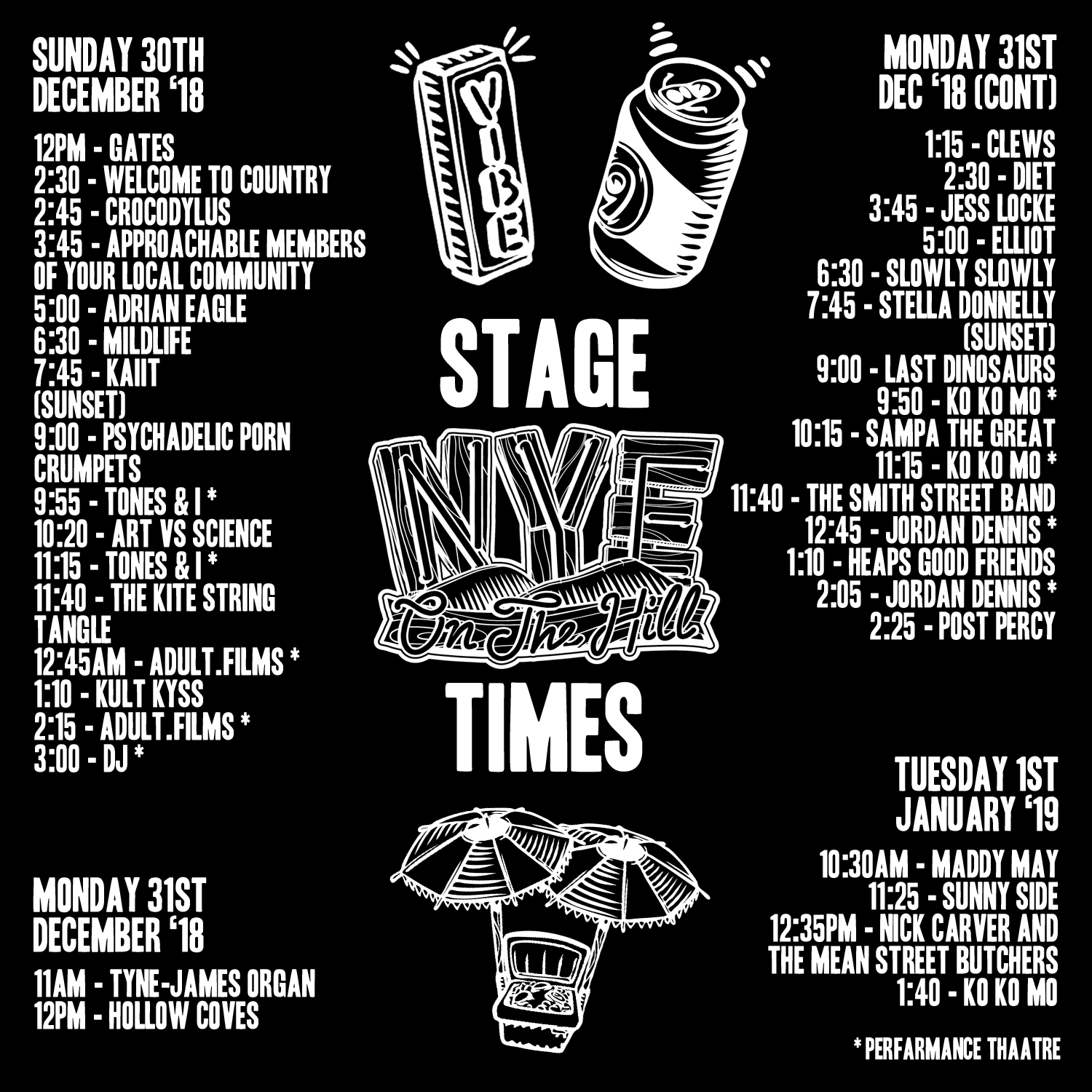 Nye On The Hill 2018 Set Times Announced Utter Buzz 1980 Dodge Aspen Wiring Diagram