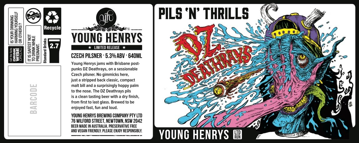 Pils n Thrills Beer Label - Young Henrys x DZ Deathrays