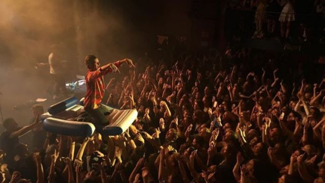 Sam crowd surfing on the lilo