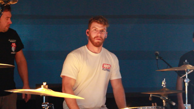 Scott on the drums