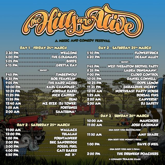 The Hills Are Alive 2017 Playing Times supplied
