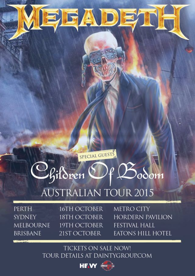 megadeth 2015 australian tour poster updated supplied