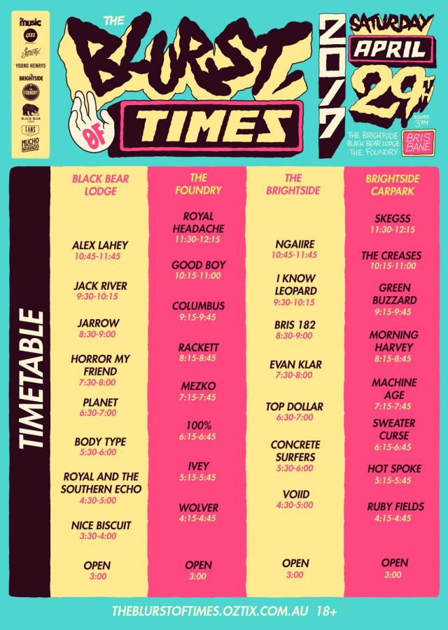 blurst of times 2017 set times supplied