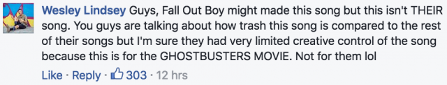 fall out boy ghostbusters theme 2016 facebook comment 4