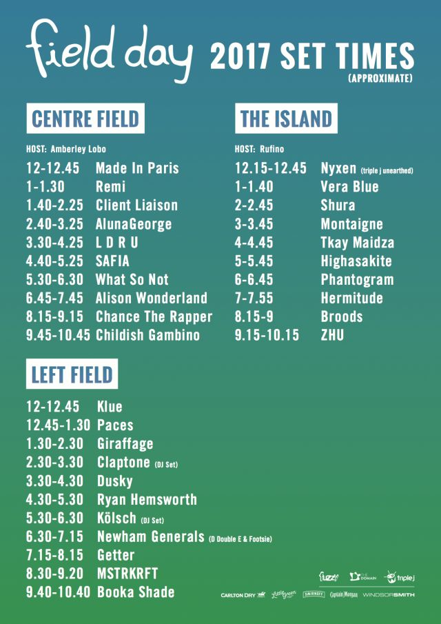 field day 2017 updated set times