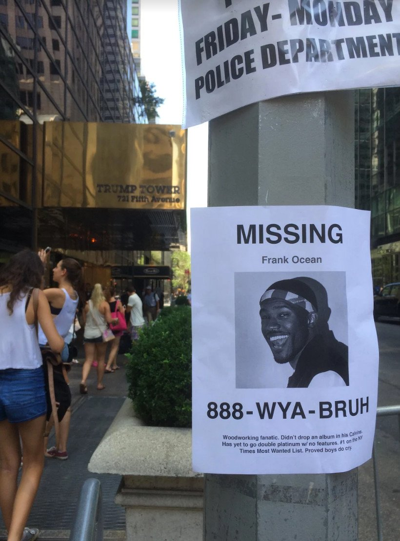 There Have Been Missing Frank Ocean Posters Spotted In Nyc Music Feeds