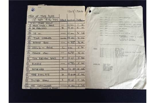 Top Of The Pops Running Sheet