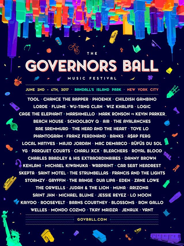 governors ball 2017 lineup poster supplied