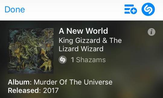 king gizzard murder of the universe screenshot shazam source facebook user Ethan East