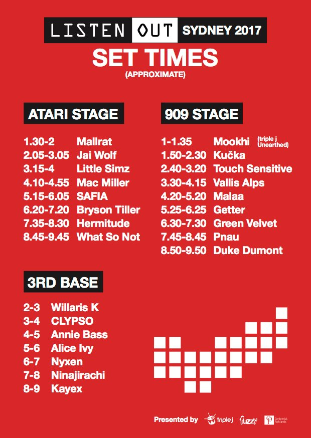 listen out 2017 sydney set times updated