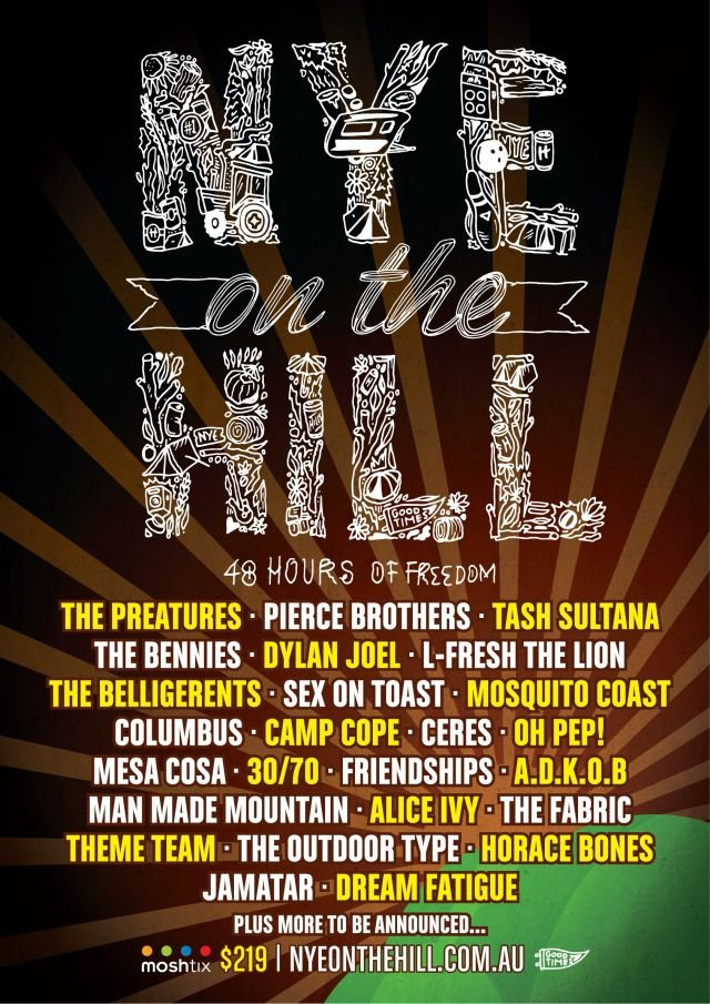 nye on the hill 2016 first lineup announcement poster supplied