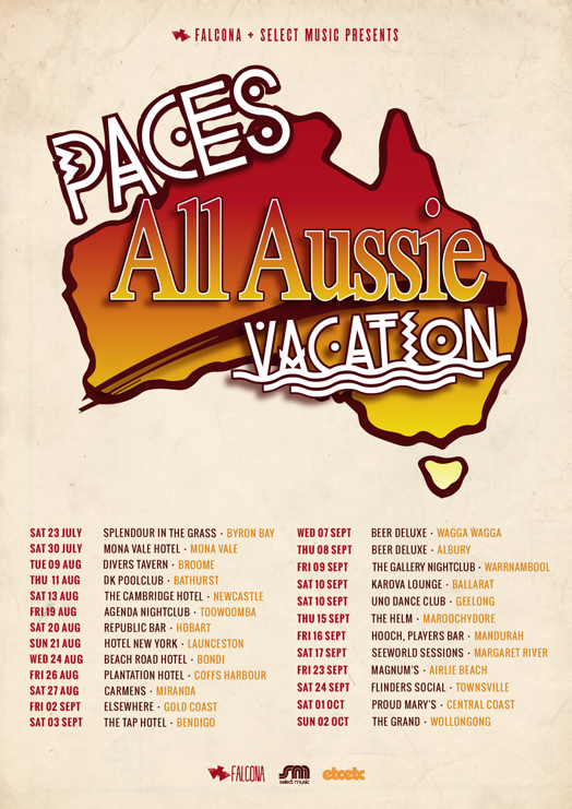 paces all aussie vacation tour poster 2016 supplied