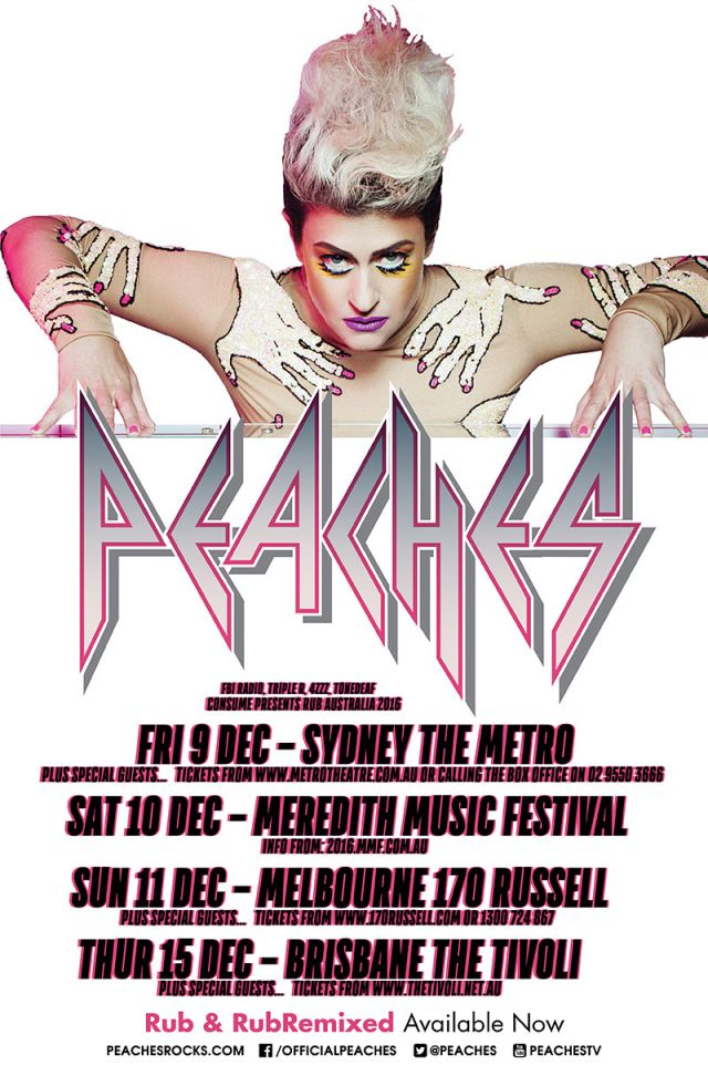 peaches 2016 australian tour poster supplied