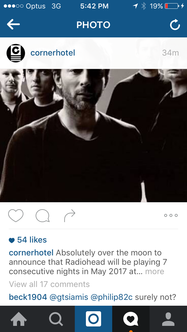 radiohead corner hotel post source supplied northeast party house