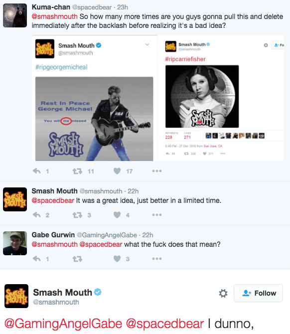 smash mouth carrie fisher goerge michael tweets