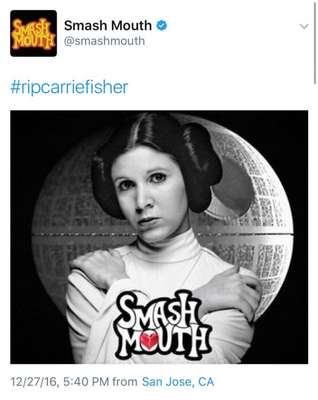smash mouth pulled carrie fisher tribute source consequence of sound