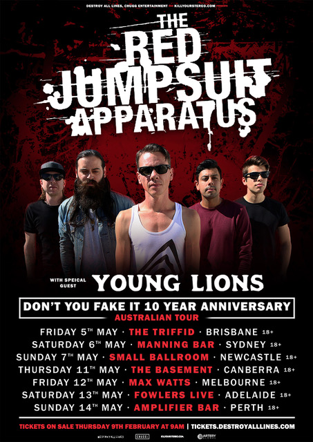 the red jumpsuit apparatus 2017 australian tour poster