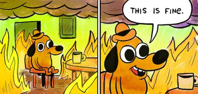 this is fine fire meme