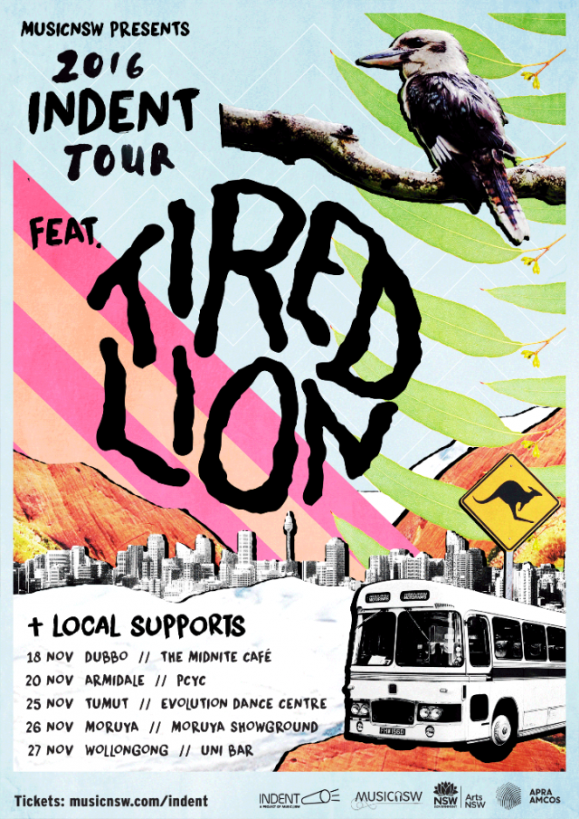 tired lion indent tour poster 2016