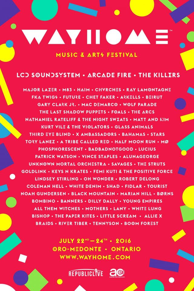 wayhome music and arts festival 2016 lineup source official facebook